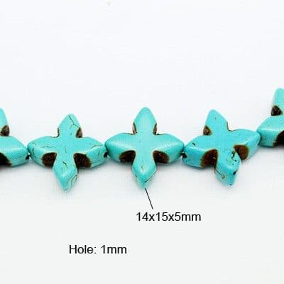 Natural Gemstone Beads - Howlite Dyed Cross - Turquoise 32 beads