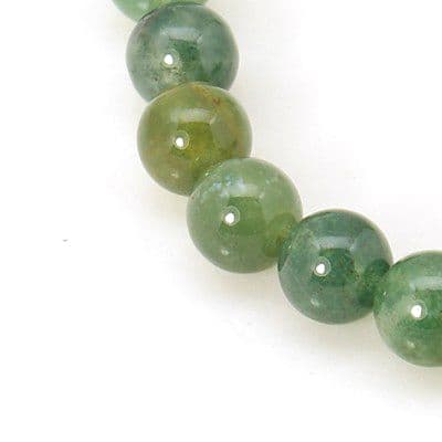 Natural Moss Agate Round Beads (6mm) - 30 beads