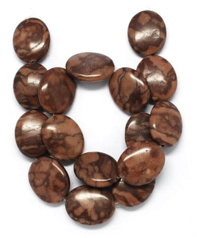 Red Zebra Jasper Stone Oval Beads (25x20x7mm) - 8 beads