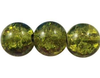 Round Crackle Glass Beads - Olive Green, 8mm (25 beads)