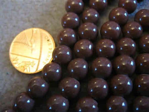 Round Dyed Glass Beads - Baking Painted - 8mm - (22 Beads) - Brown