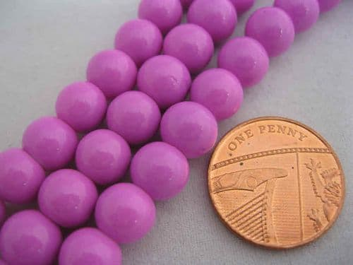 Round Dyed Glass Beads - Baking Painted - 8mm - (22 Beads) - Hot Pink