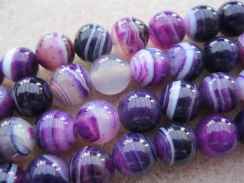 Round Dyed 'Natural Agate Beads - 8mm - (24 beads) - Purple