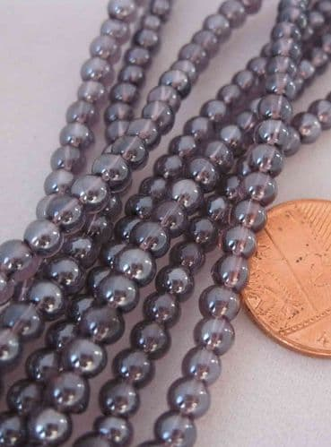 Round Glass Beads - 4mm - Approx 80 beads - Amethyst