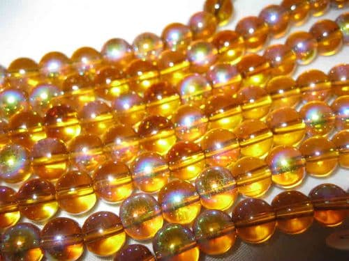 Round Glass Beads with AB Plating - 8mm - Amber (25)