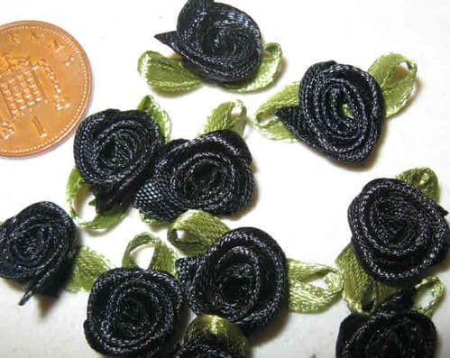 Satin Ribbon Flowers - Black (Pack of 10)