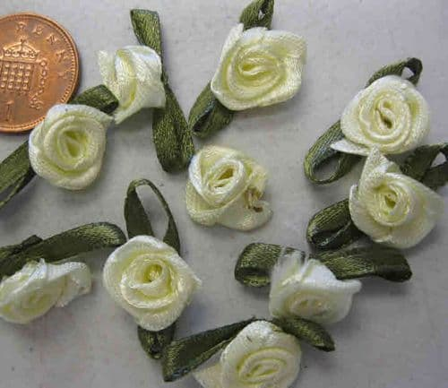 Satin Ribbon Flowers - Pale Yellow (Pack of 10)