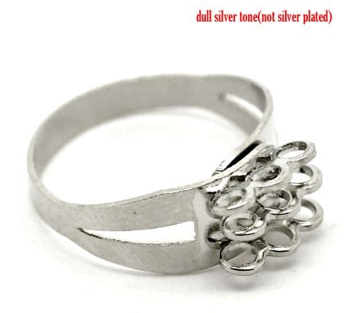 Silver Colour Adjustable Ring Blank (US 8) - Single