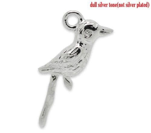 Silver Colour Charms - Bird (Pack of 5)