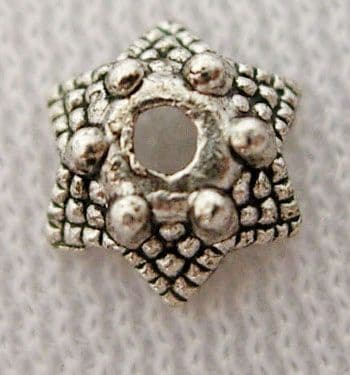 Tibetan Silver Bead Caps - Flower - Antique Silver - Pack of 50