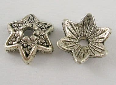 Tibetan Silver Bead Caps - Star Flower - Antique Silver - Pack of 25