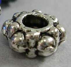 Tibetan Silver Beads, Gear Spacer, Antique Silver, 7.5mm (20 beads)