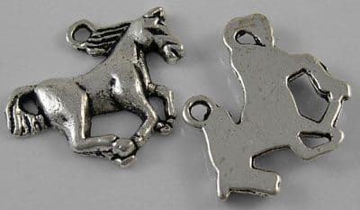 Tibetan Silver Galloping Horse Charm - 15x20mm (Pack of 5)
