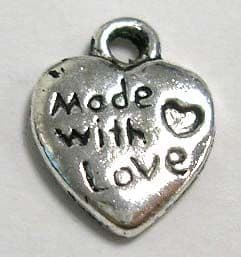 """Tibetan Silver Heart Pendant/Charm """"Made with love"""" - Pack of 10"""