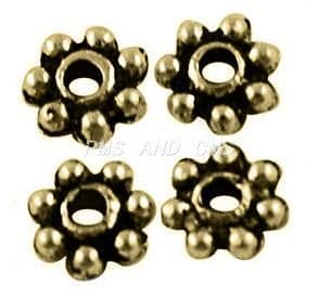 Tibetan Style Antique Bronze Daisy Spacers 4mm - Pack of 10g