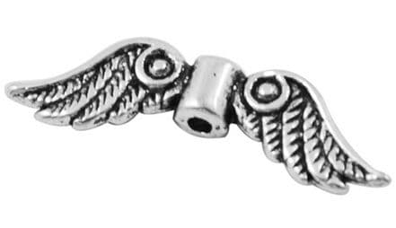 Tibetan Style Antique Silver Charms - Angel Wings (23mm) - Pack of 10