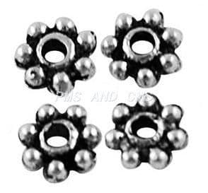 Tibetan Style Antique Silver Daisy Spacers 4mm - Pack of 10g