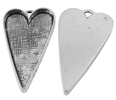 Tibetan Style Antique Silver Heart Charm/Pendant - 53x30mm - Single