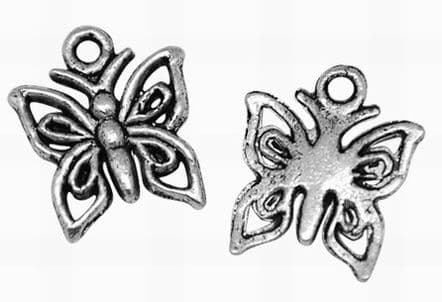 Tibetan Style Butterfly Charms - Antique Silver (Pack of 10)