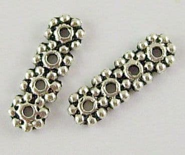 Tibetan Style Silver Rectangle Spacer Bars - 4 Hole (13.5mm) - Pack of 10