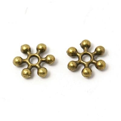 Tibetan Style Spacer - Snowflake - Antique Bronze (8mm) - pack of 25