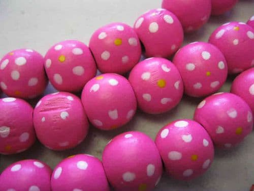 Wood Beads with dot patterns (14mm) - 10 beads - Bright Pink