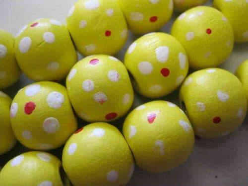Wood Beads with dot patterns (14mm) - 10 beads - Yellow