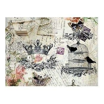 A4 Rice Paper - 154 Crown and birdcage
