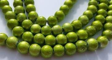 Baking Painted Drawbench Glass 8mm Round Beads (25) - Lime