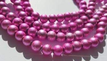 Baking Painted Drawbench Glass 8mm Round Beads (25) - Pink