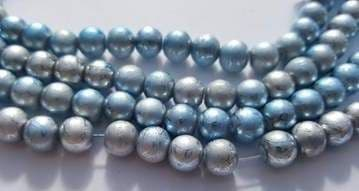 Baking Painted Drawbench Glass 8mm Round Beads (25) - Soft Blue