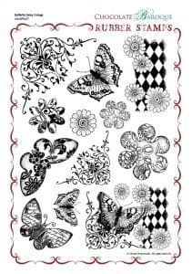 Chocolate Baroque Butterfly Daisy Collage Rubber Stamp