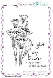 Chocolate Baroque Floral Delight Rubber Stamp