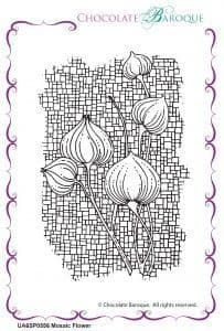 Chocolate Baroque Mosaic Flower Rubber Stamp
