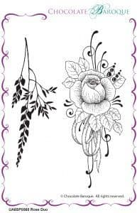 Chocolate Baroque Rose Duo  Rubber Stamp