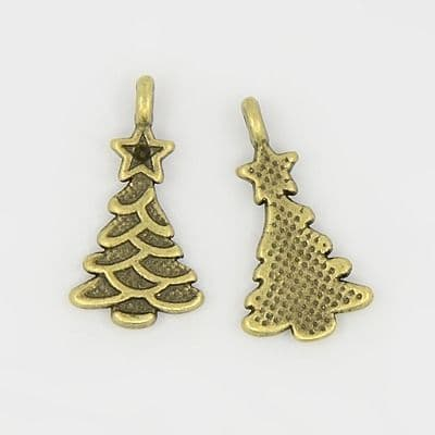 Christmas Tree Charms (Antique Bronze) pack of 5