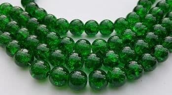 Crackle Glass Round Beads 10mm Green (20)