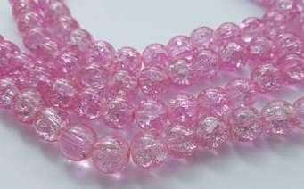 Crackle Glass Round Beads 10mm Light Pink (20)