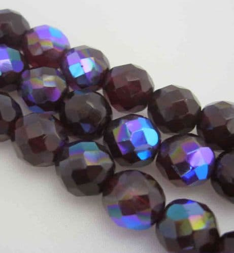 Czech Fire Polished Beads - 12mm - Garnet AB (10)