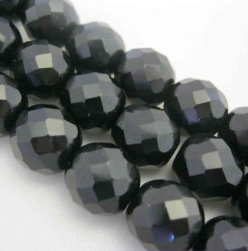 Czech Fire Polished Beads - 12mm - Jet (10)