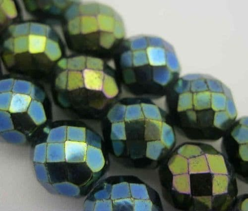 Czech Fire Polished Beads - 12mm - Jet Green Iris (10)