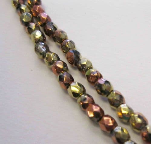 Czech Fire Polished Beads - 3mm - California Gold Rush (50)