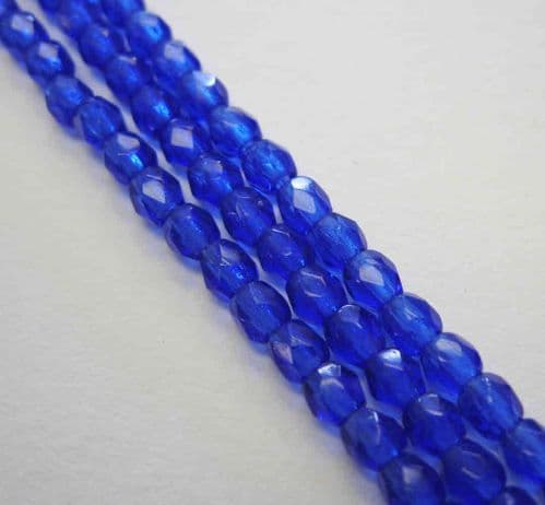 Czech Fire Polished Beads - 3mm - Cobalt Blue (50)