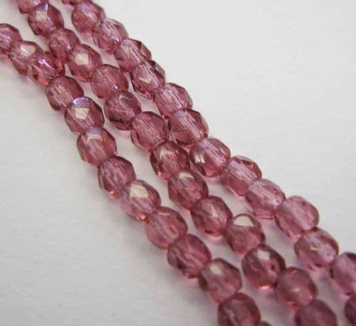 Czech Fire Polished Beads - 3mm - Fuchsia (50)