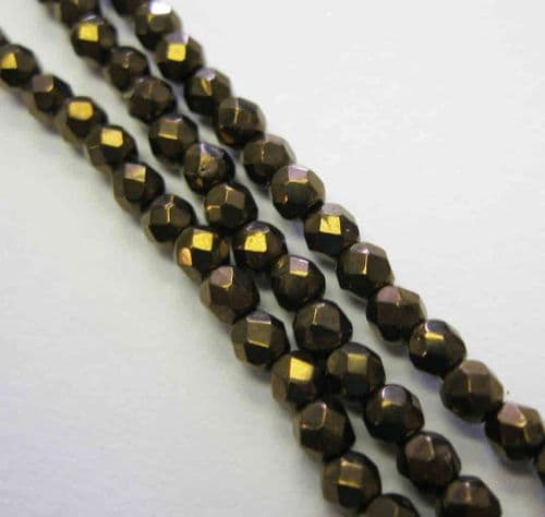 Czech Fire Polished Beads - 3mm - Jet Bronze (50)