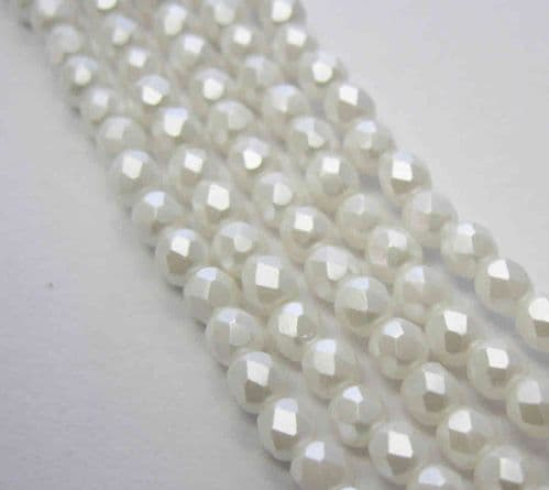 Czech Fire Polished Beads - 3mm - Pastel Alabaster White (50)