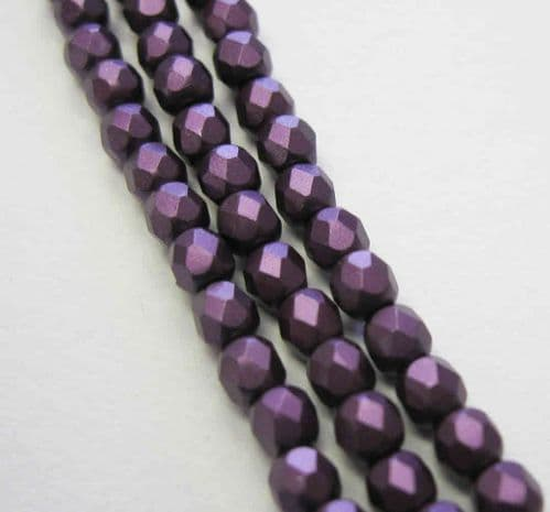 Czech Fire Polished Beads - 3mm - Pastel Bordeaux (50)