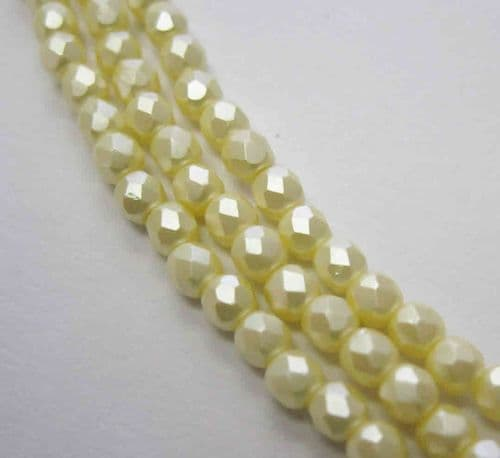 Czech Fire Polished Beads - 3mm - Pastel Cream (50)