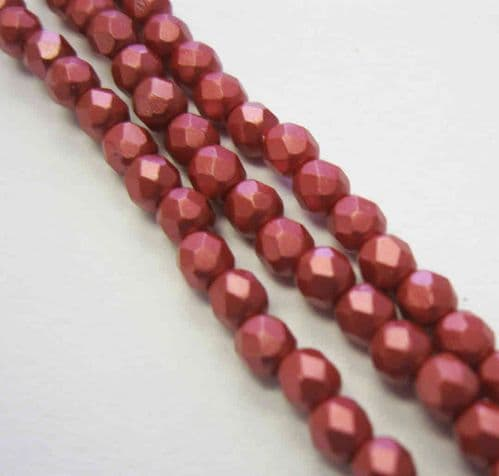 Czech Fire Polished Beads - 3mm - Pastel Dark Coral (50)
