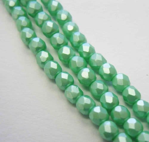 Czech Fire Polished Beads - 3mm - Pastel Light Green (50)